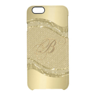 Gold Metallic Look With Diamonds Pattern Clear iPhone 6/6S Case