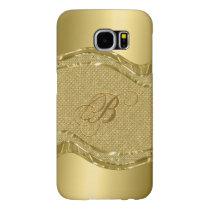 Gold Metallic Look With Diamonds Pattern Samsung Galaxy S6 Case