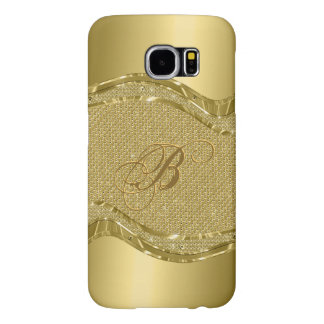 Gold Metallic Look With Diamonds Pattern Samsung Galaxy S6 Case