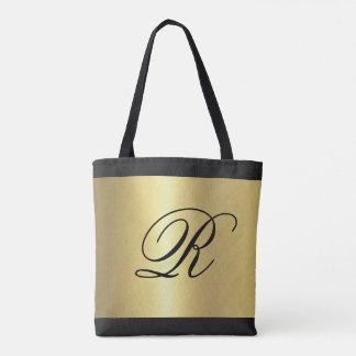 Gold Metallic Look with Monogram Tote Bag