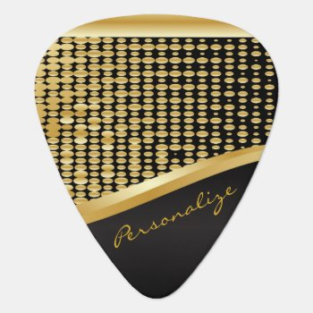 Gold Metallic Metal Mesh Print   Diy Text Guitar Pick by DesignsbyDonnaSiggy at Zazzle