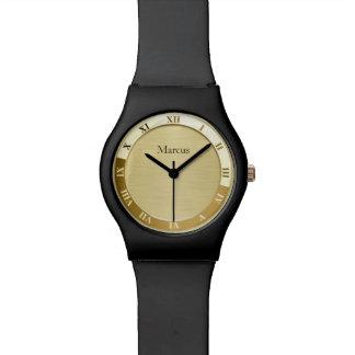 Gold Metallic Name Template Wrist Watch