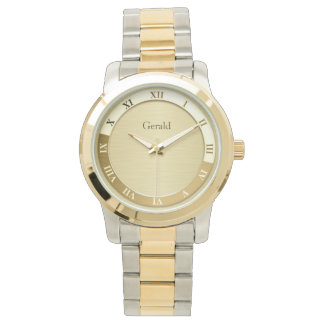 Gold Metallic Name Template Wristwatch