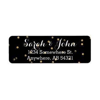 Gold Metallic Polka Dot Black Elegant Party Label