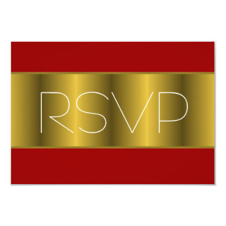 Gold Metallic Red RSVP 3.5x5 Paper Invitation Card