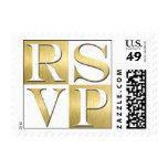 Gold Metallic RSVP Wedding Postage
