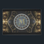 """Gold Metallic Steampunk Fractal Image Monogram Placemat<br><div class=""""desc"""">A very cool looking fractal image. With its gold, bronze and rich earthy tones. It has a very steampunk feel to it. Ornate patterns weave their way through this abstract kaleidoscope. The center holds a large circle which looks like a pearlescent orb. Fancy and elegant design. Personalize with your monogram...</div>"""