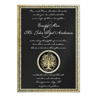 Gold Metallic Swirl Tree Gold Border Wedding Card