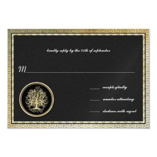 Gold Metallic Swirl Tree Gold Border Wedding RSVP Card