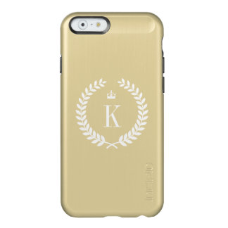 Gold Metallic Wreath Crown Pattern and Monogram Incipio Feather Shine iPhone 6 Case