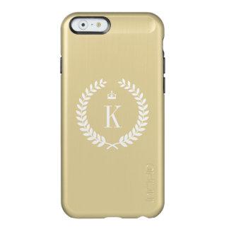 Gold Metallic Wreath Crown Pattern and Monogram Incipio Feather® Shine iPhone 6 Case