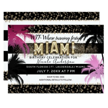 Beach Themed Gold Miami Glitter Glam Palm Trees Birthday Party Card