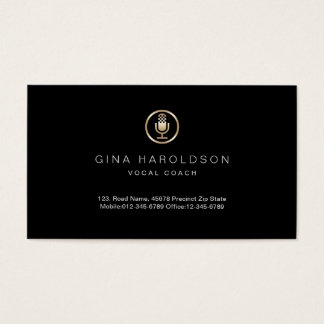 Gold Microphone Icon Vocal Coach Business Card