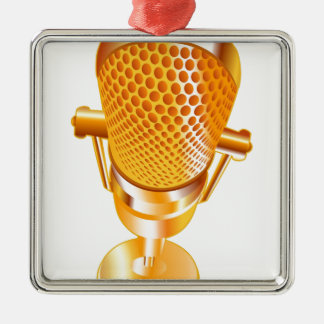 Gold Microphone Metal Ornament