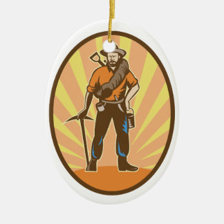 Gold Miner Ceramic Ornament