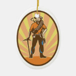 Gold Miner Double-Sided Oval Ceramic Christmas Ornament