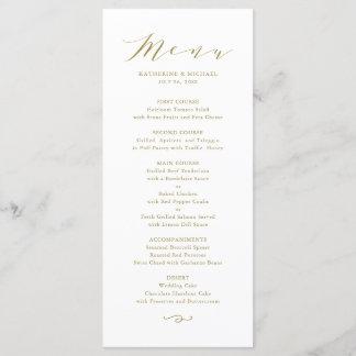 Gold Minimalist Dainty Script Wedding Menu