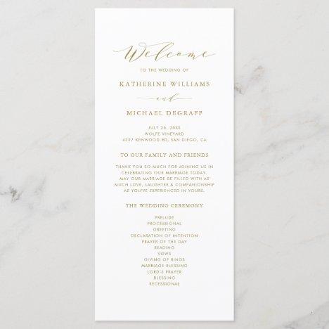 Gold Minimalist Script Order of Ceremony Wedding Program