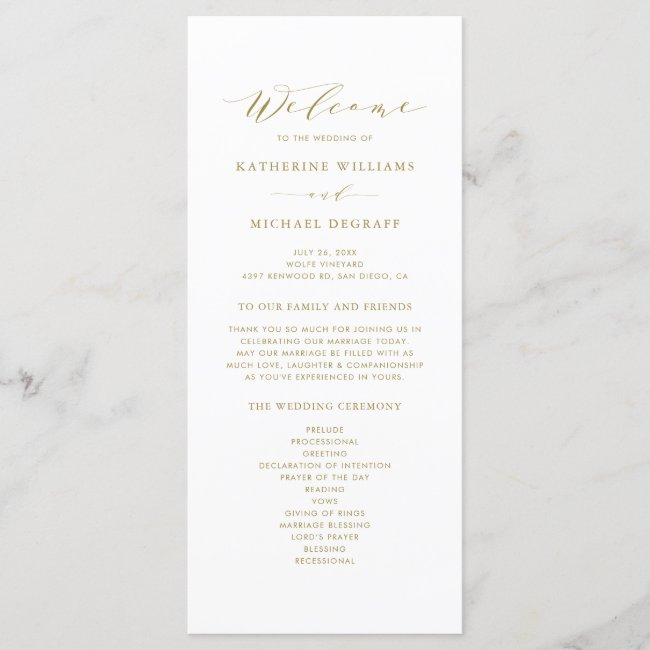 Gold Minimalist Script Order of Ceremony Wedding Program