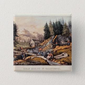 Gold Mining in California Button