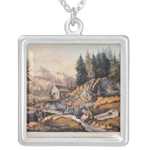 Gold Mining in California Silver Plated Necklace