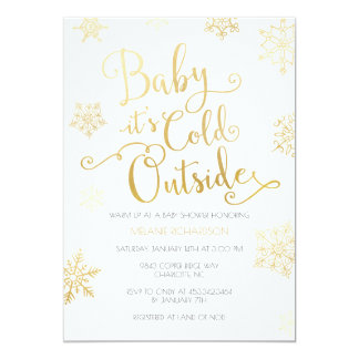 Gold & Mint Baby it's Cold Outside Shower Invite