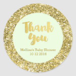 Gold Mint Baby Shower Thank You Favor Sticker