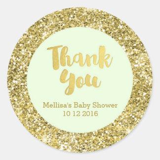 Gold Mint Baby Shower Thank You Favor Sticker