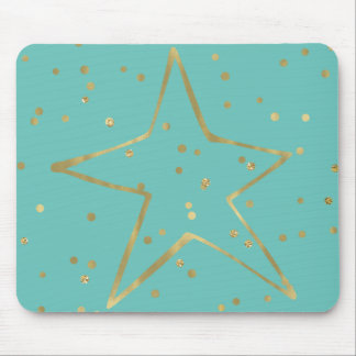 Gold Mint Confetti Star Mouse Pad