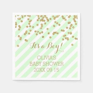 Gold Mint Green Confetti Stripes Baby Shower Paper Napkin