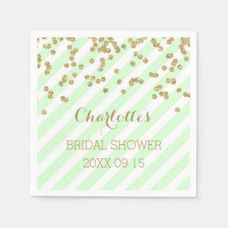 Gold Mint Green Confetti Stripes Bridal Shower Paper Napkin