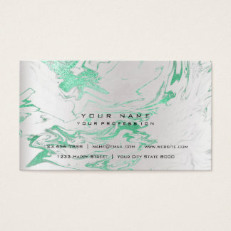 Gold Mint Green Marble Vip Pearly Silver Abstract Business Card