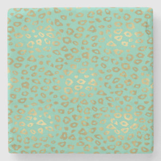 Gold Mint Ombre Leopard Print Stone Coaster