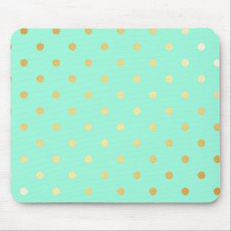 gold mint polka dots mouse pad
