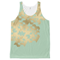 Gold & Mint Tank Top Print Geometric Pattern