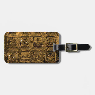 Gold mobile phone icons bag tag