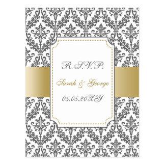 gold mod wedding rsvp cards postcard
