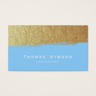 Gold Modern Brushed Business Cards Blue and White