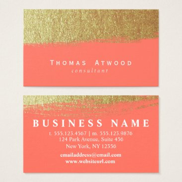 Professional Business Gold Modern Brushed Business Cards Coral and White