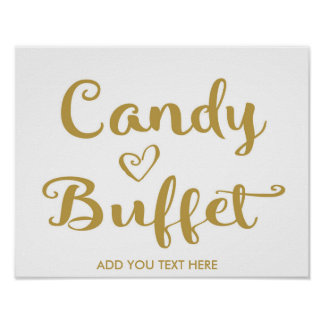Gold Modern Calligraphy Candy Buffet print