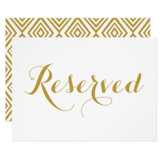 Gold Modern Calligraphy Reserved Wedding Sign Card