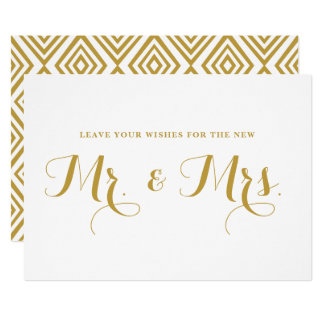 Gold Modern Calligraphy Wishes for Mr. & Mrs. Sign Invitation