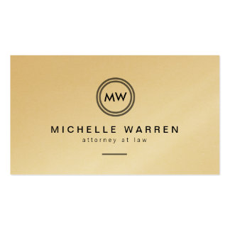 Gold Modern Circle Monogram Initials Attorneys Double-Sided Standard Business Cards (Pack Of 100)