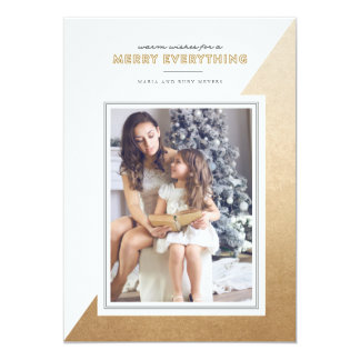 Gold Modern Color Blocked Christmas Photo Card