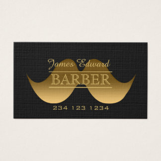 Gold Modern Gentleman Mustache Barber Men Salon Business Card