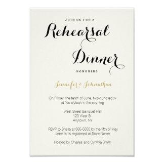 Gold modern lettering rehearsal dinner invitations