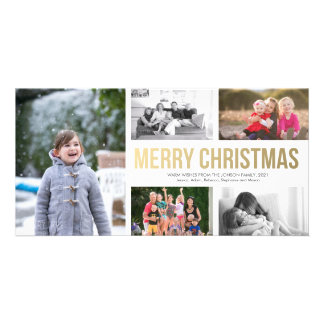 Gold Modern Merry Christmas Collage 5 Photo Card