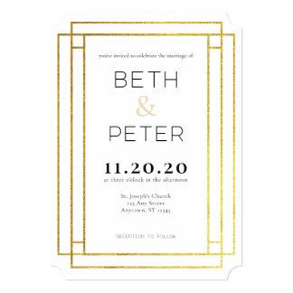 Gold Modern Minimal Geometric Wedding Invitation