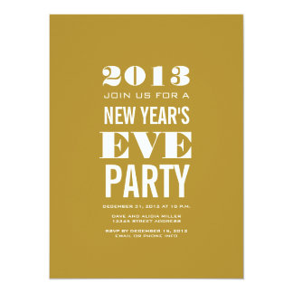 Gold Modern New Year's Eve Party Invitation