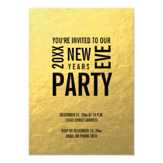 Gold Modern New Years Eve Party Invite